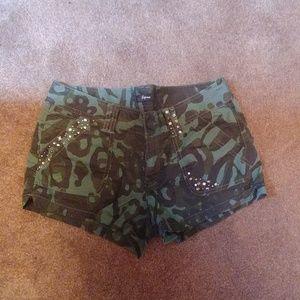 Express Camo studded embellished bling shorts